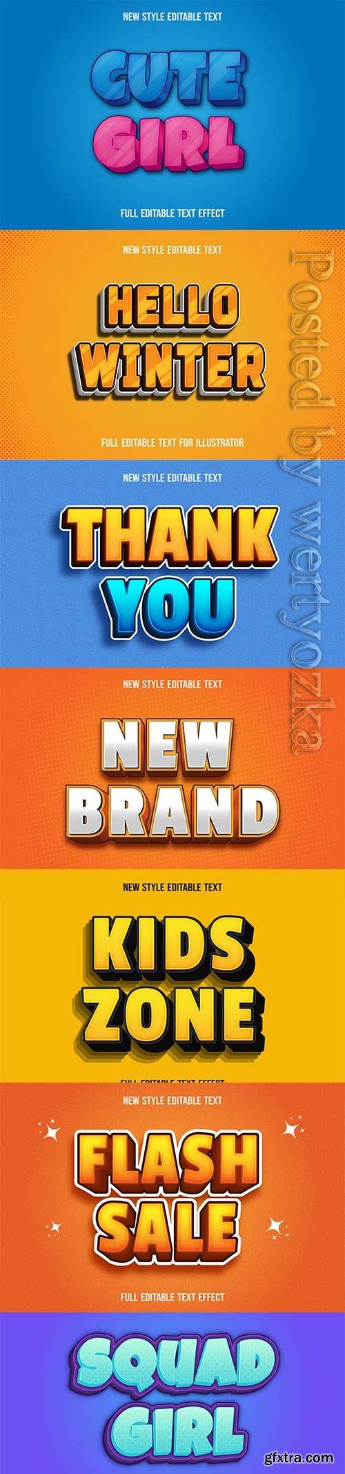 3d editable text style effect vector vol 253