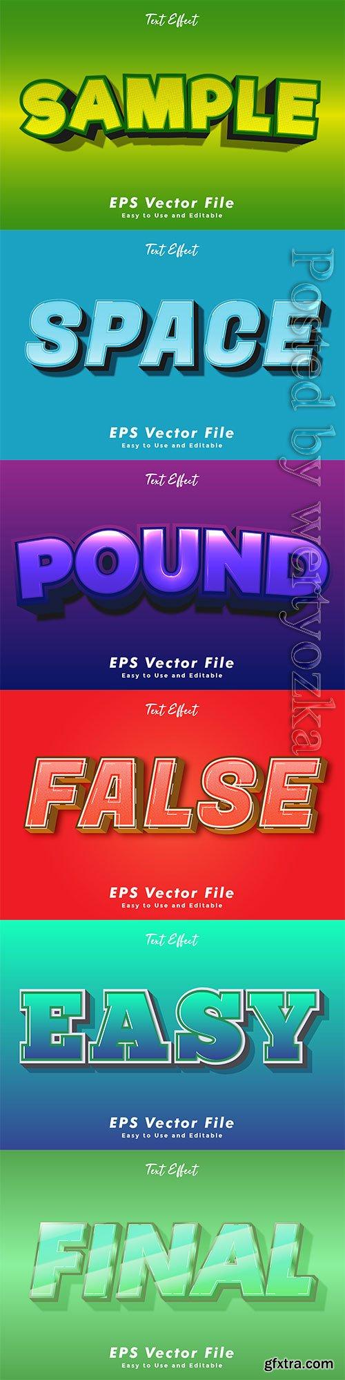 3d editable text style effect vector vol 236