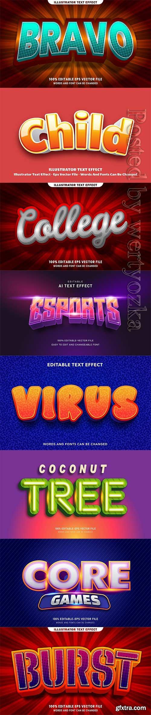 3d editable text style effect vector vol 251