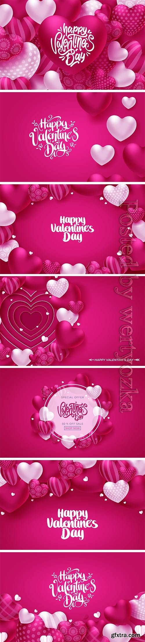 Colorful soft and smooth valentine greeting card with hearts