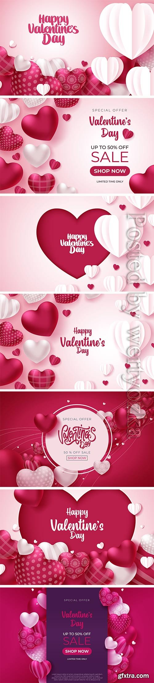 Valentine greeting card with hearts on pink