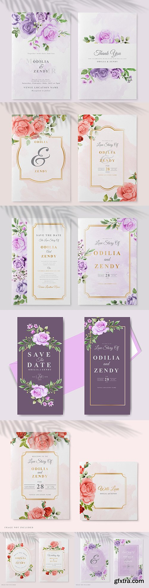 Beautiful floral painted wedding invitation card