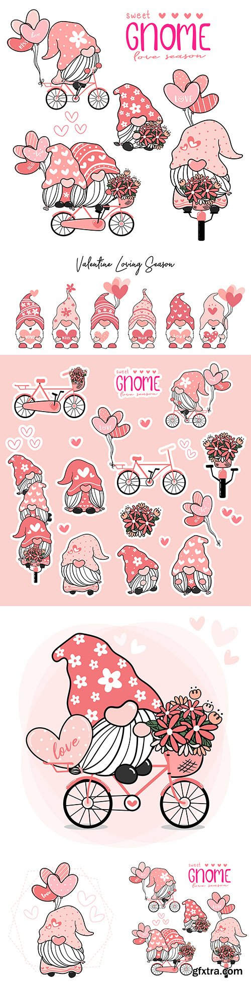 Cute valentine gnome illustration and label for printing