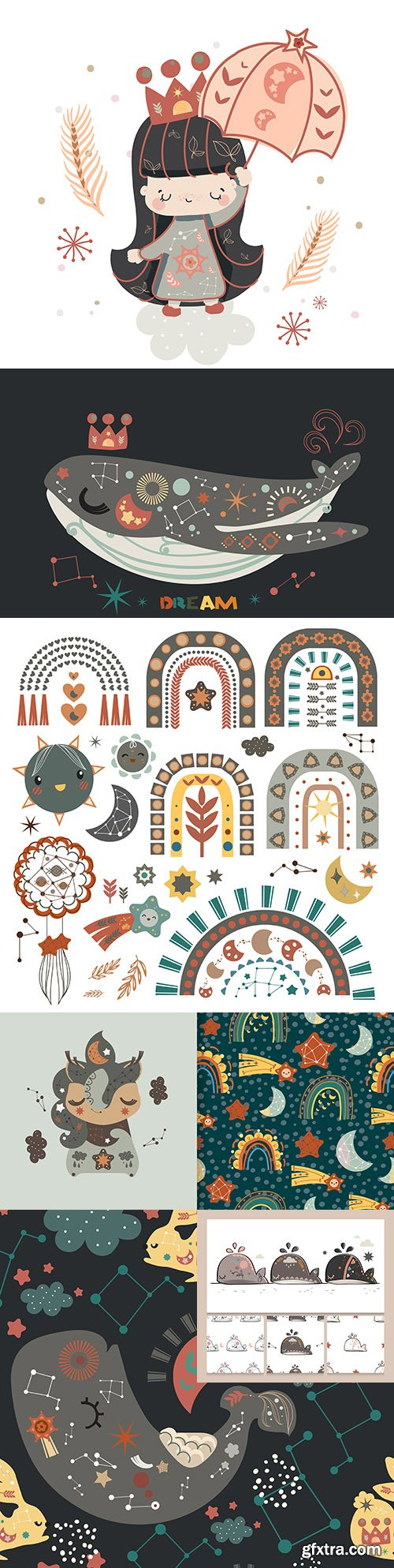 Collection of bohemian pop art illustrations with elements