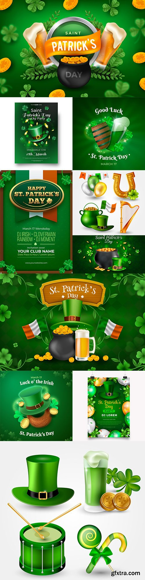 Realistic st. Patrick's day illustration with boiler and pints