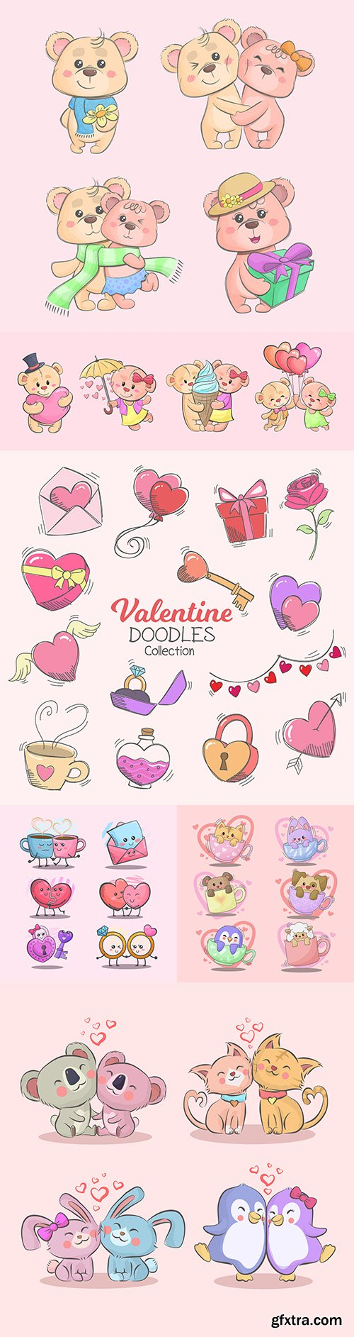 Happy Valentine's Day funny animals and collection elements