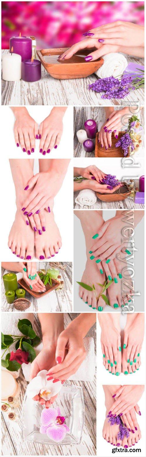 Pedicure and manicure stock photo