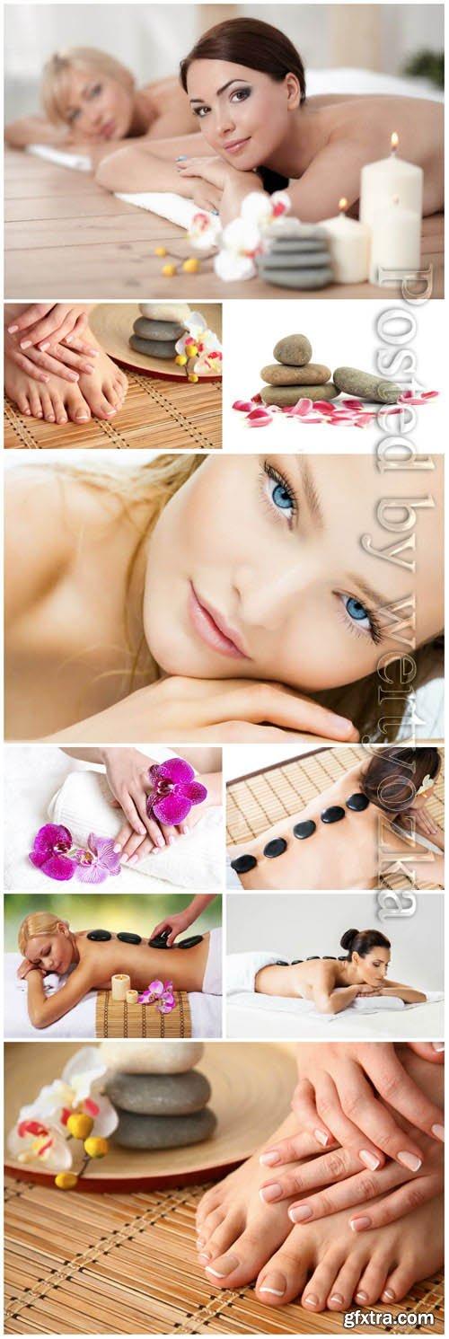 Spa stone massage, women in spa salon stock photo