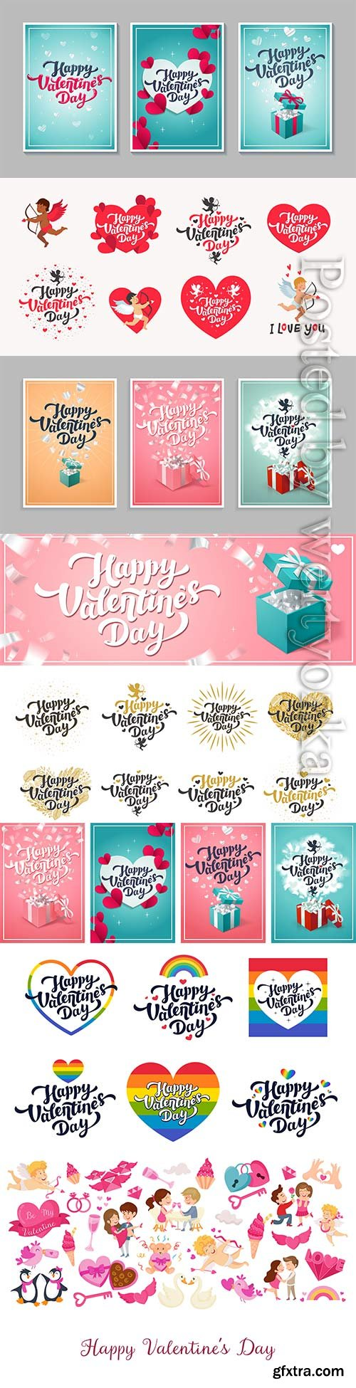 Valentine's day greeting cards, love day cards or stickers
