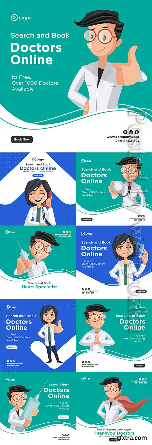 Search and book doctors online banner design