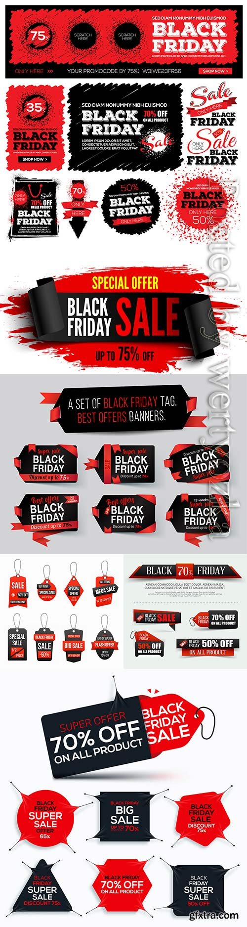 Set black friday tag with red ribbon