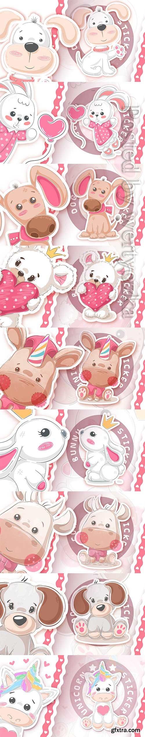 Animals with heart vector sticker