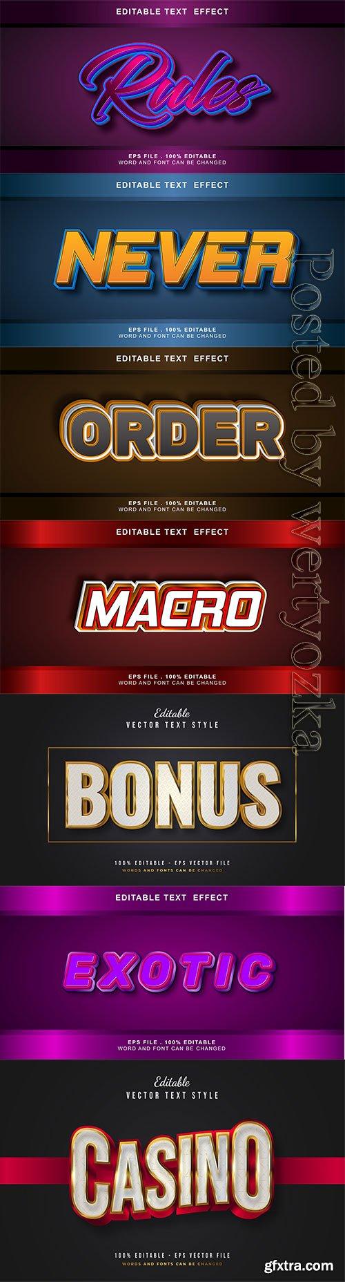 3d editable text style effect vector vol 261