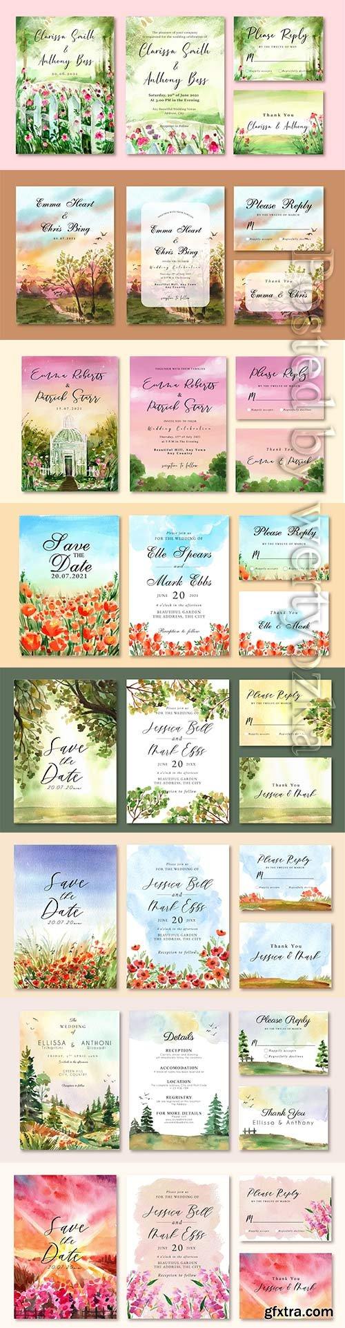 Vector floral watercolor wedding invitation