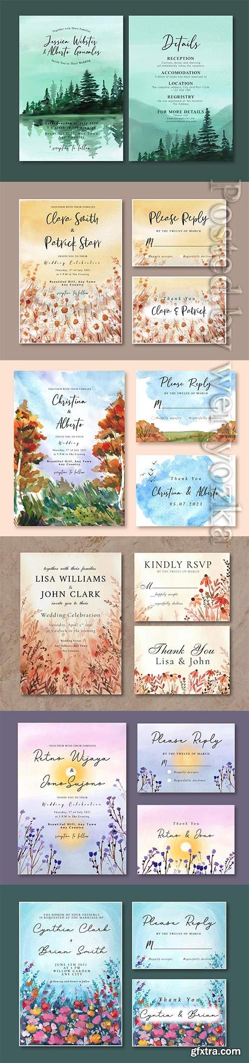 Watercolor wedding invitation vector card