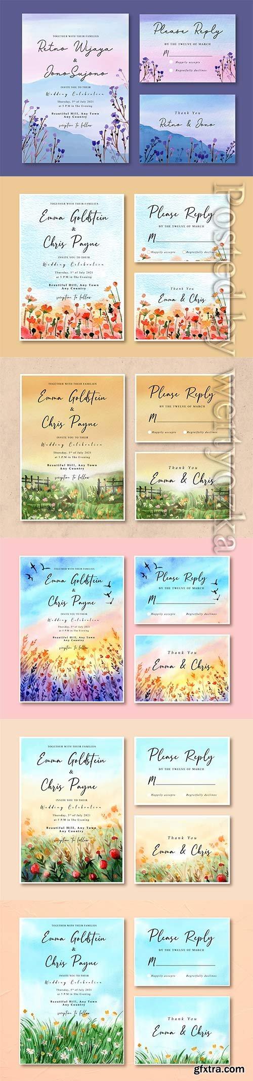 Floral watercolor vector wedding invitation