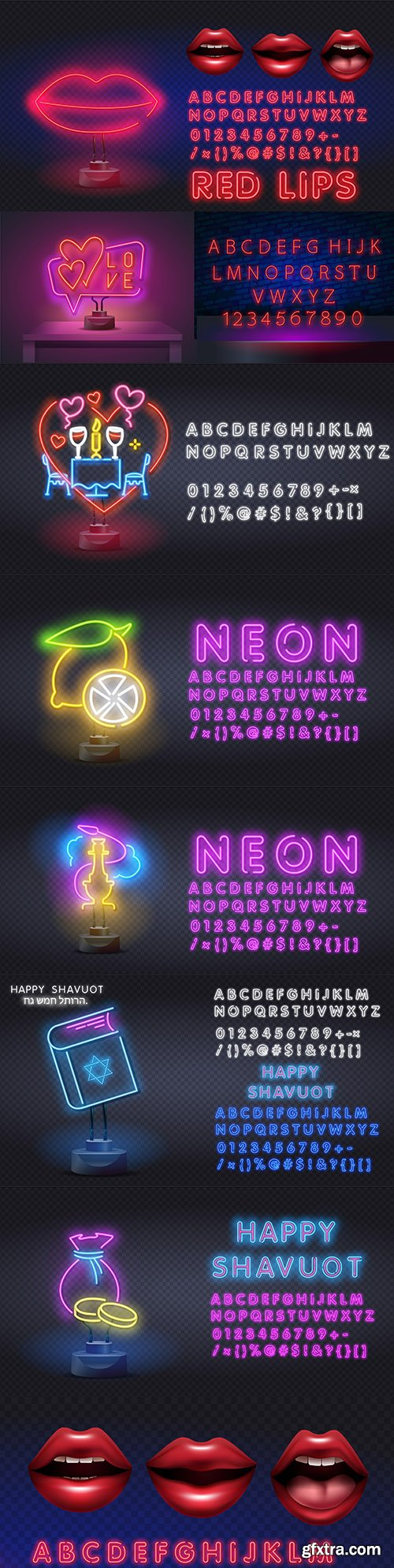 Neon style logo and signage with decorative fon
