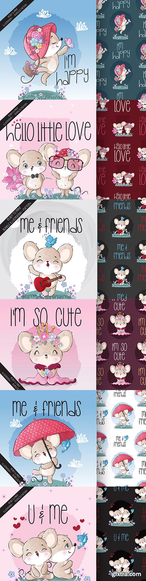Cute mouse animals and seamless patterns