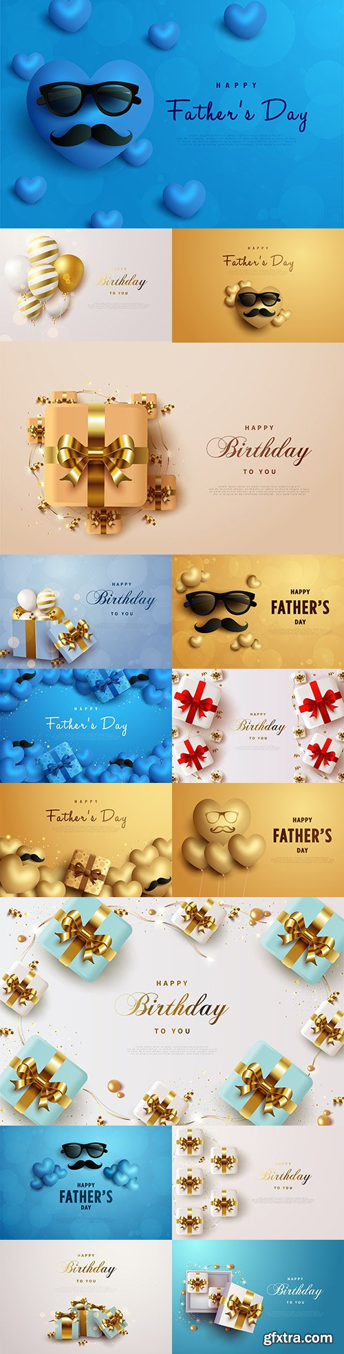 Birthday and father's day holiday illustrations with gifts