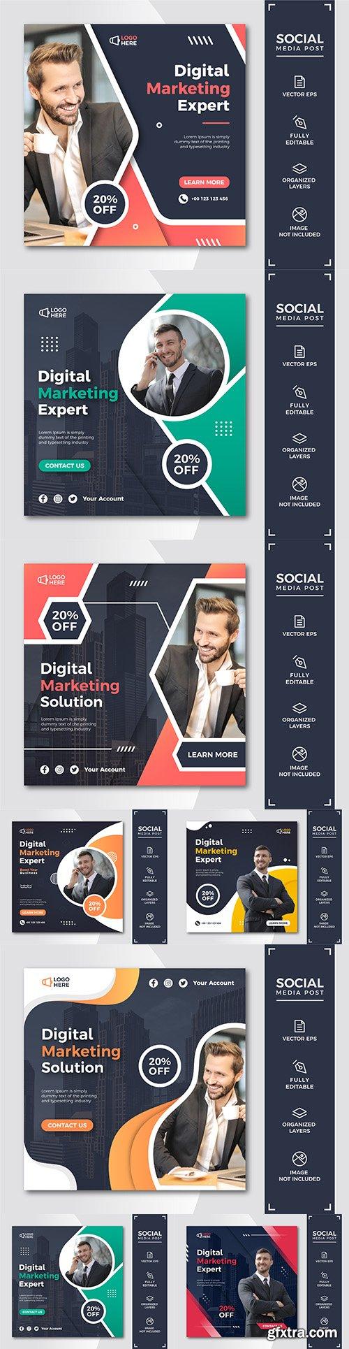 Digital marketing social media message template