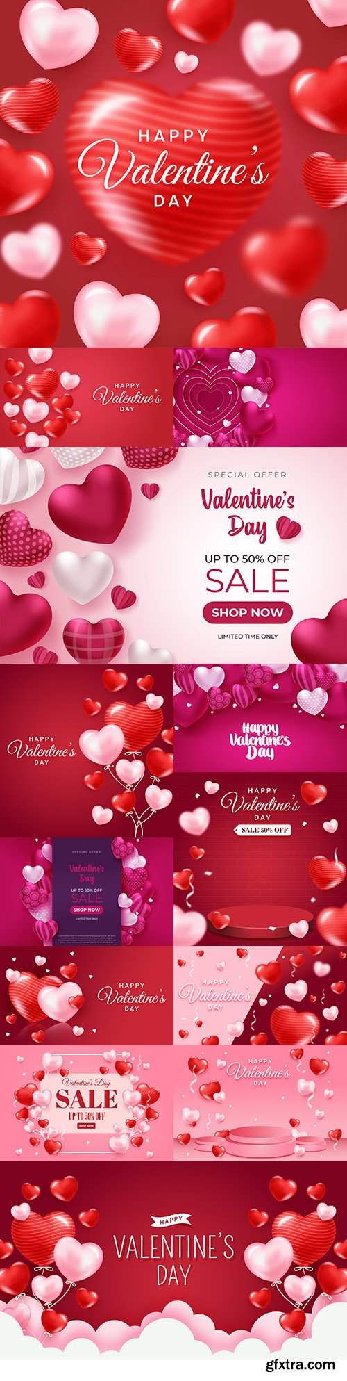 Valentine's Day illustrations with heart-shaped balloons