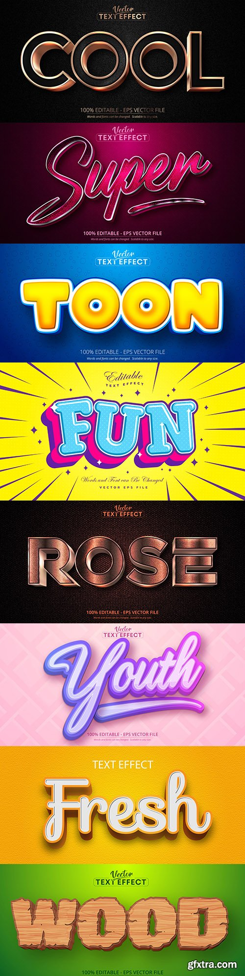Editable font and 3d effect text design collection illustration 14