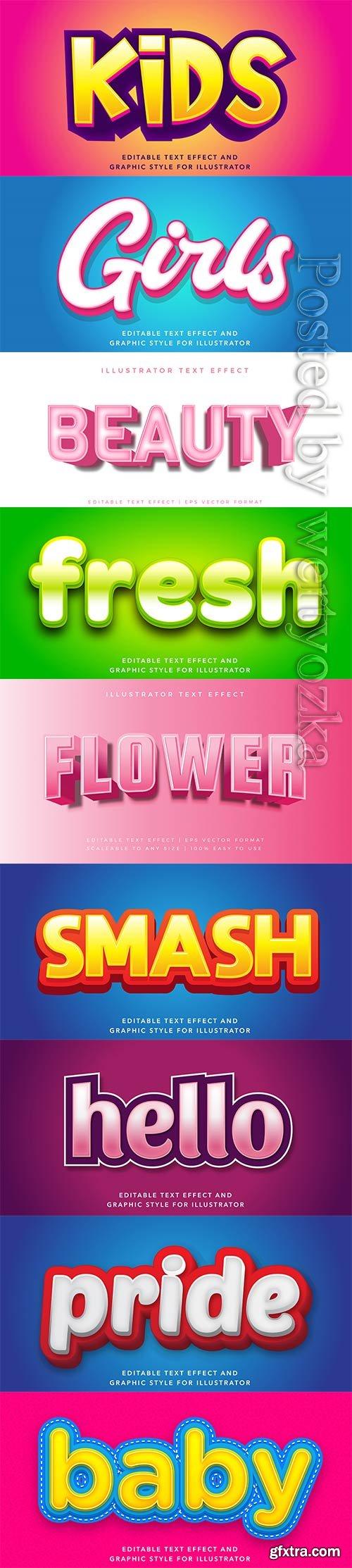 3d editable text style effect vector vol 277