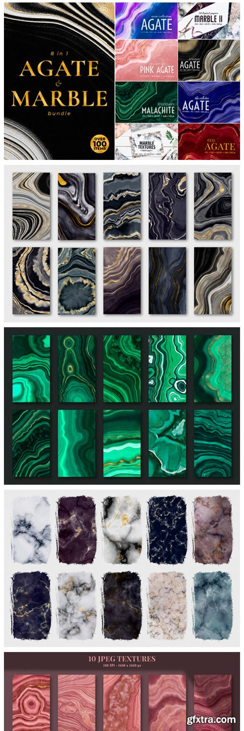 Agate, Marble and Gold Textures Bundle 8444800