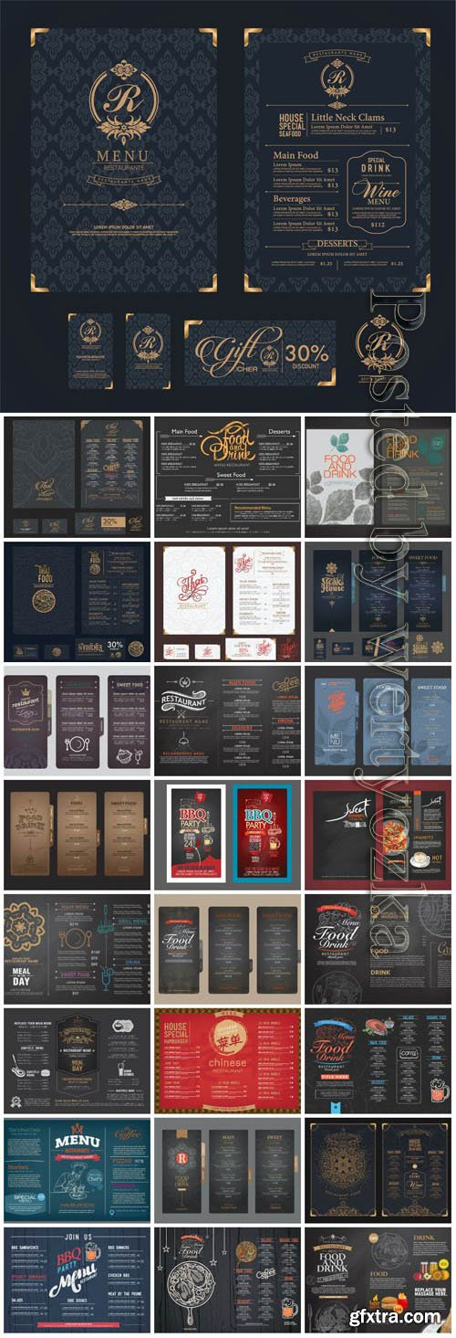 Vintage restaurant menus in vector