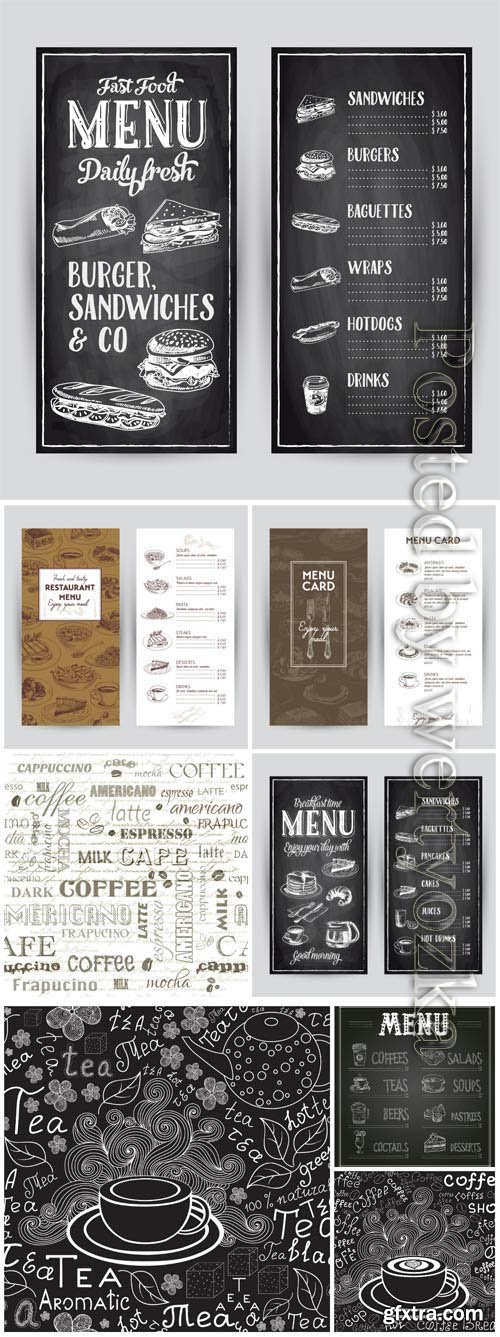 Restaurant menu in vintage style in vector