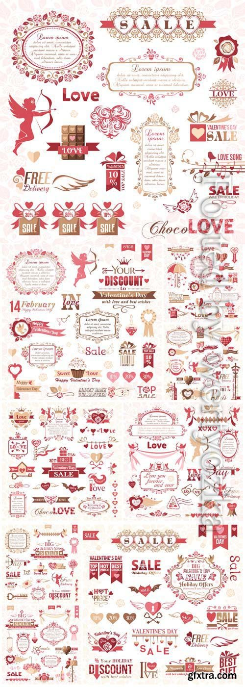 Frames, icons, labels and decorative elements for valentine's day in vector