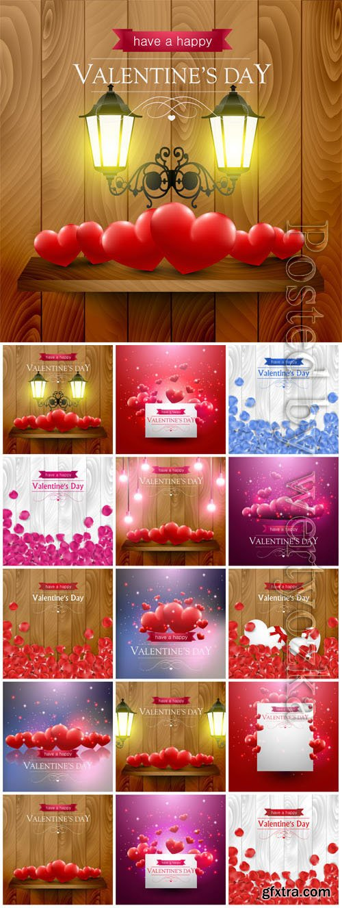 Backgrounds with hearts and lanterns for valentine's day in vector