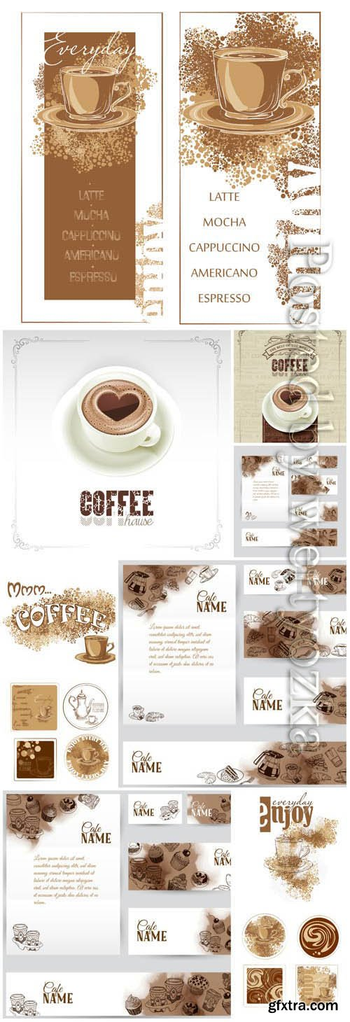 Banners with the image of coffee in vector
