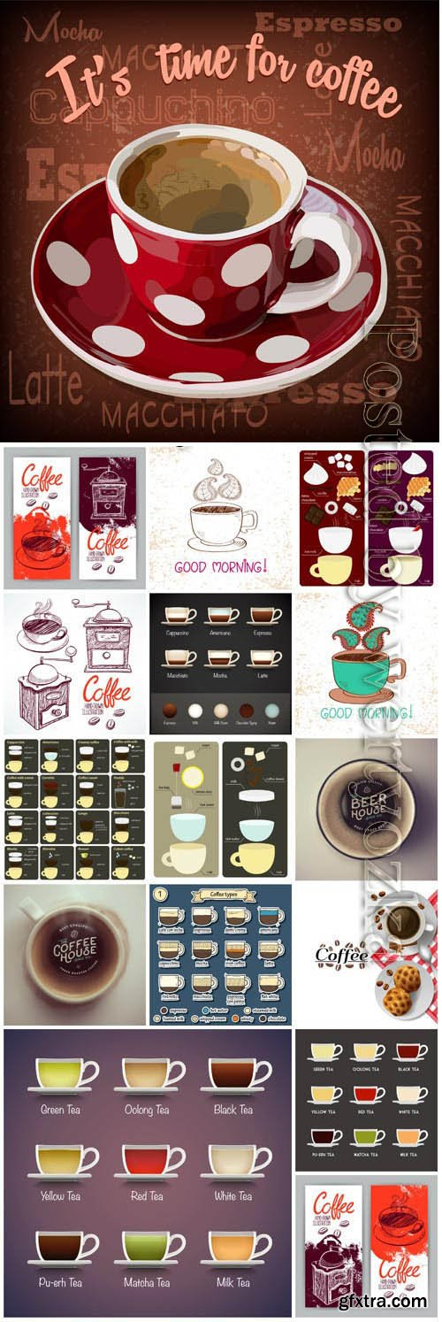 Coffee menu, cups with coffee in vector