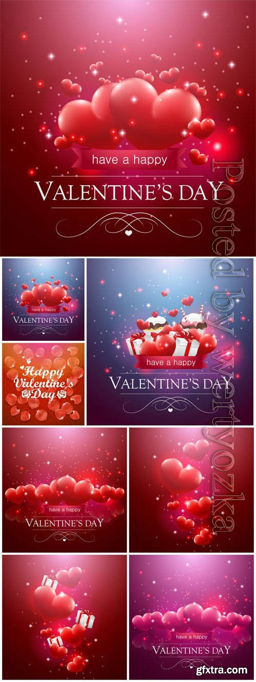Shining hearts for valentine's day in vector