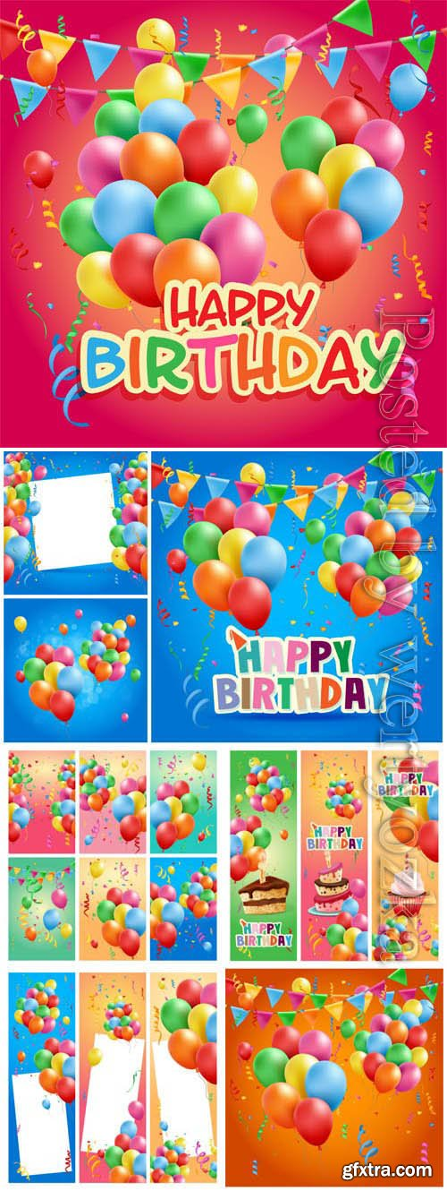 Birthday banners and backgrounds in vector