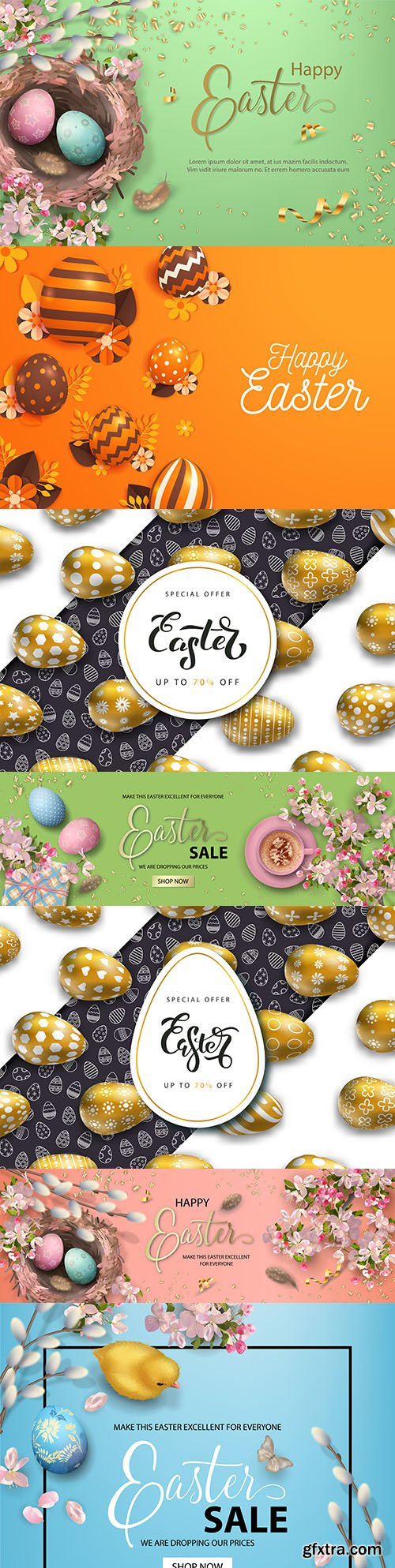 Happy Easter banners with golden eggs and flowers