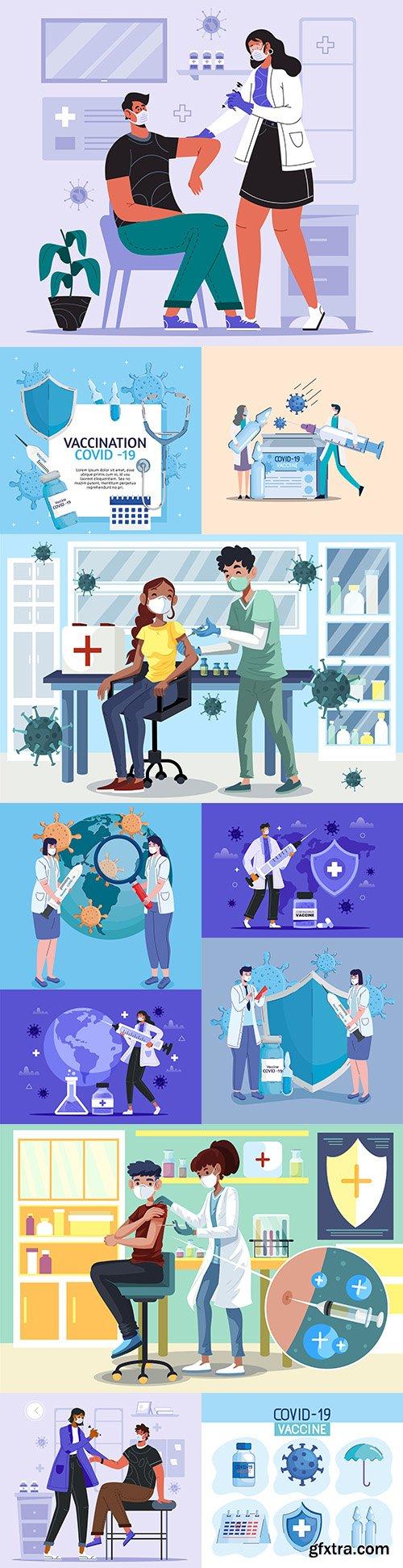 Coronavirus vaccine doctor with patient give inoculation illustration
