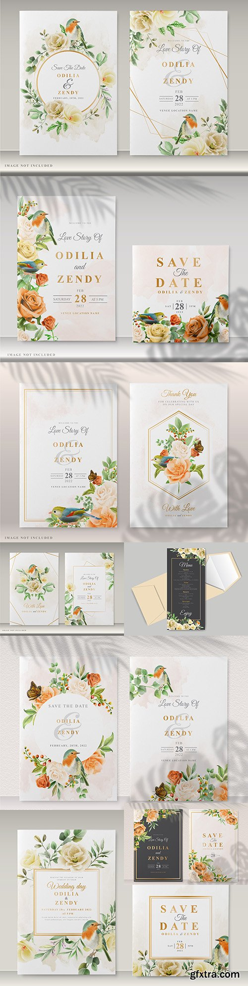 Beautiful wedding invitation template with flowers and birds