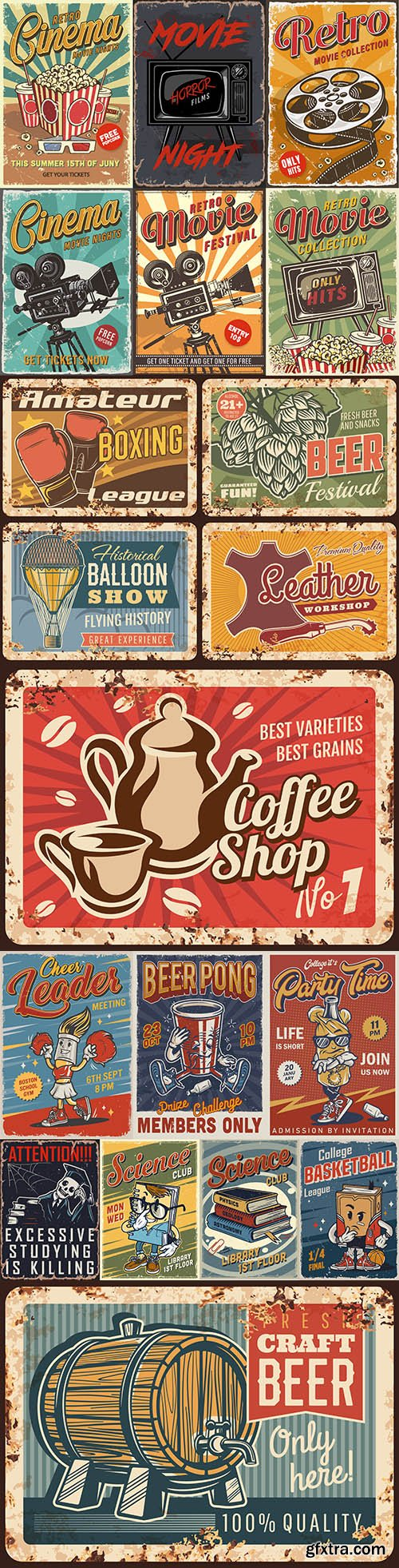 Retro signage design style rusty metal plate illustration
