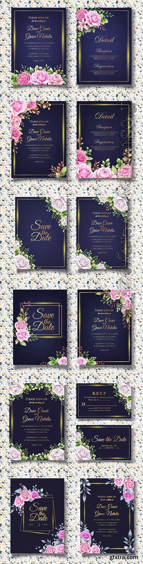Floral wedding invitation vector template