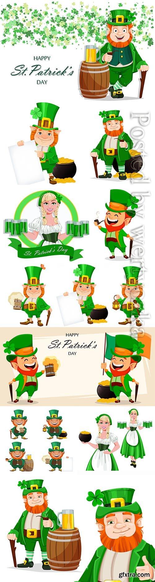 Leprechaun cartoon character, saint patricks day