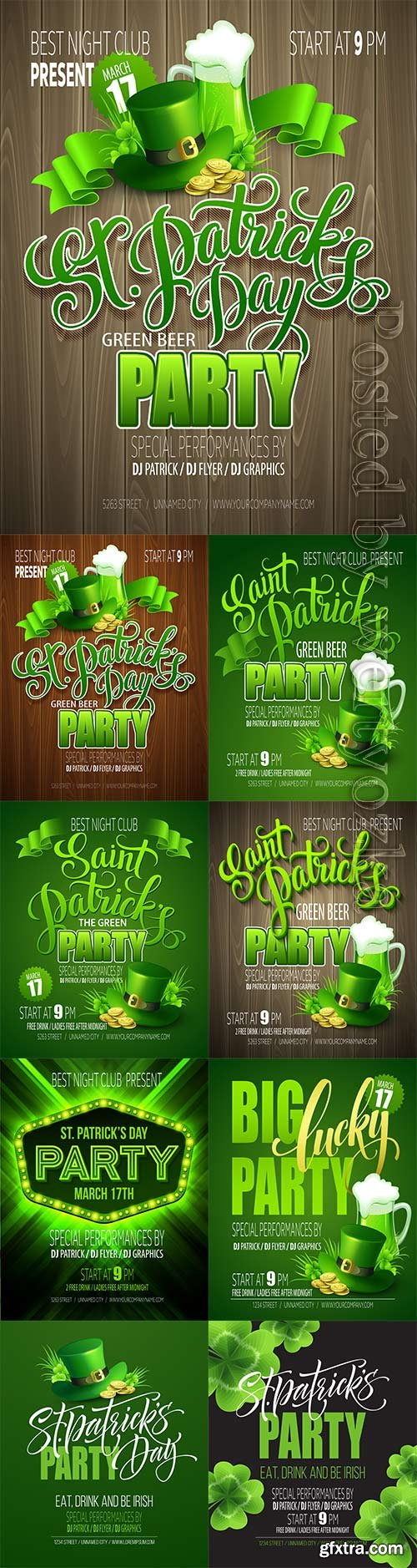 Patricks day party holiday poster vector design