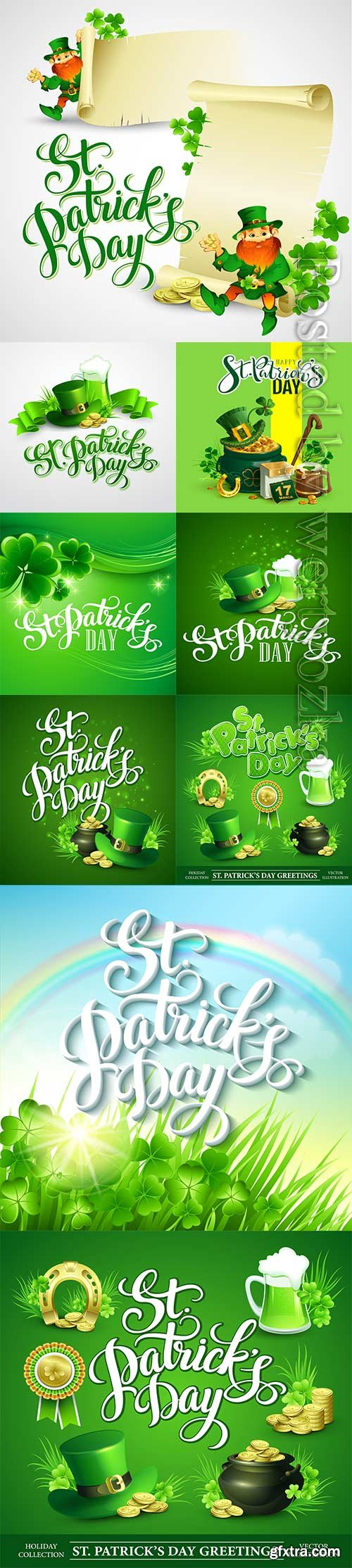 Happy saint patricks day greeting lettering vector background