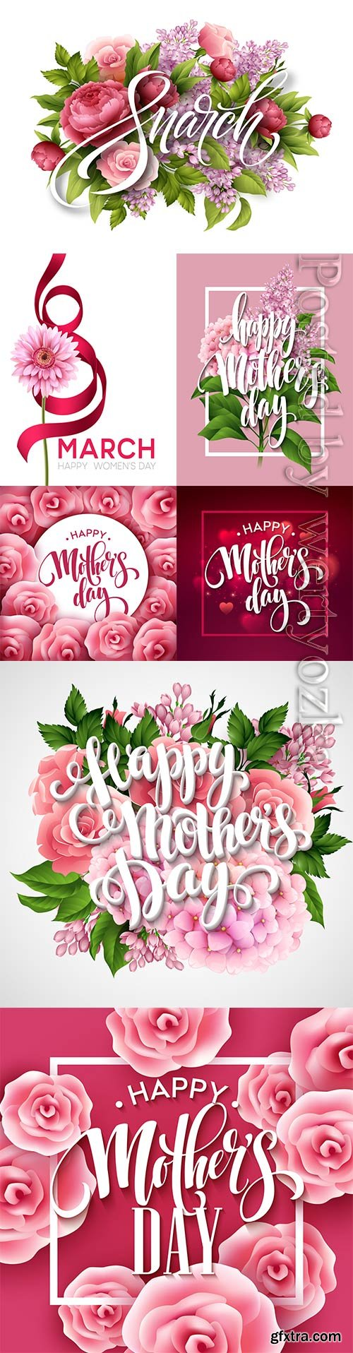 Happy mothers day lettering, greeting card with flowers