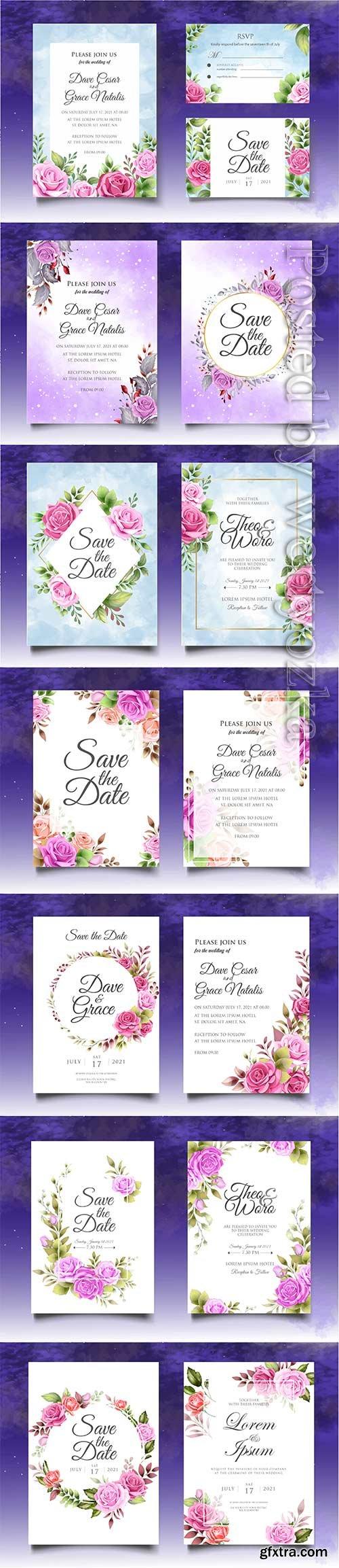 Luxury floral wedding invitation vector template