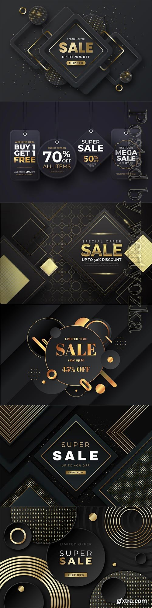 Luxury sale wallpaper with golden vector elements