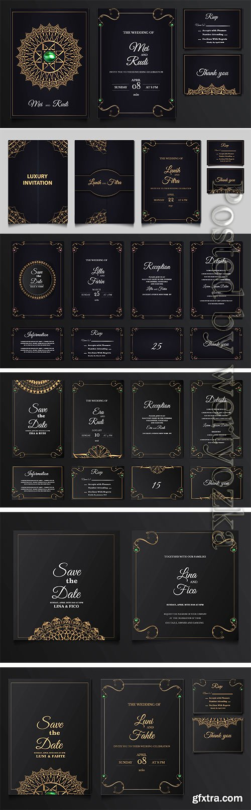 Set collection luxury save the date wedding invitation vector card