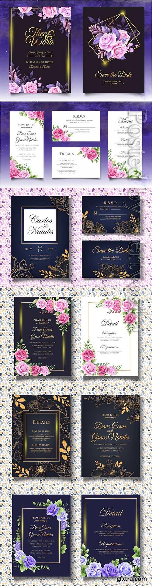 Vector floral wedding invitation template