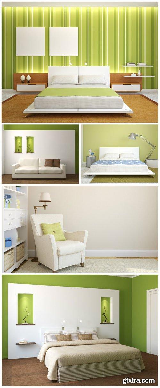 Interior in green tones stock photo